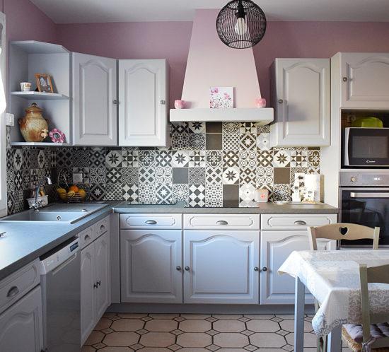 modernisation cuisine rose gris